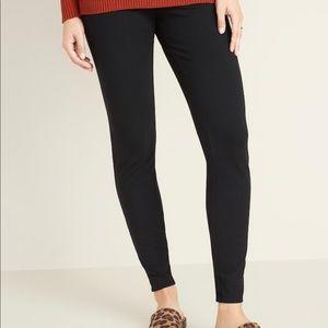 Jersey Elastic-Waist Leggings for Women XXL Black